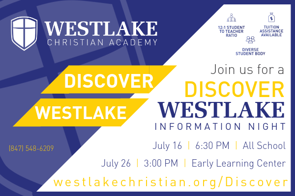 Discover Westlake Information Nights:  July 16 & 26, 2019