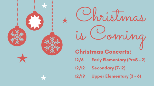 Christmas concerts will be here soon - mark your calendar
